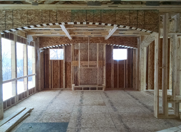 Interior view of home being built